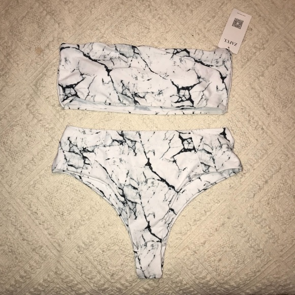 7d9b51f0dcb5c Marble print high waisted bandeau bikini set. M_5b675ee010fc542007bf723a